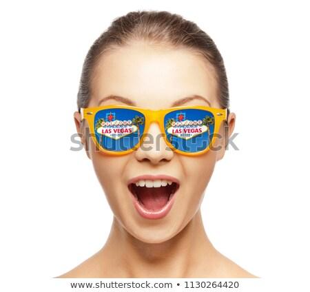 Mulher óculos de sol Las Vegas assinar reflexão viajar Foto stock © dolgachov