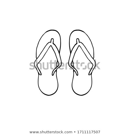 Pair of flip flop slippers hand drawn outline doodle icon. Stock photo © RAStudio