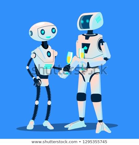 Stockfoto: Twee · robots · liefde · datum · bril · champagne