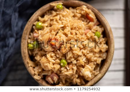 chinese fried rice in a boxwood bowl stock photo © nito