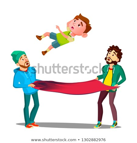 Men Catching Kid Boy Falling Out Of Window On Fire Awning Vector. Isolated Illustration Stock photo © pikepicture