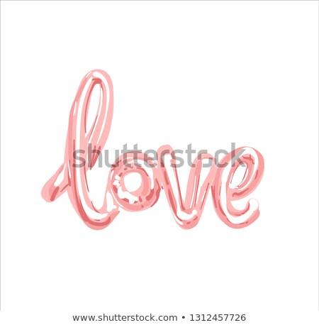 Amour réaliste caoutchouc rose or ballon Photo stock © bonnie_cocos