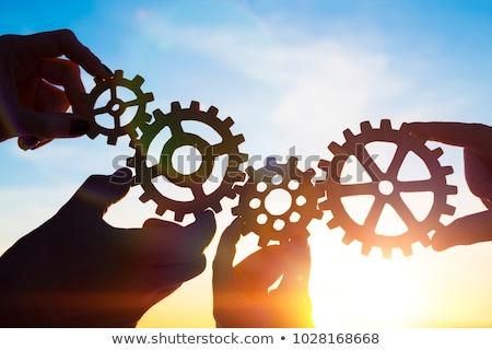 Quebra-cabeça cooperação quatro cor vítreo peças do puzzle Foto stock © make