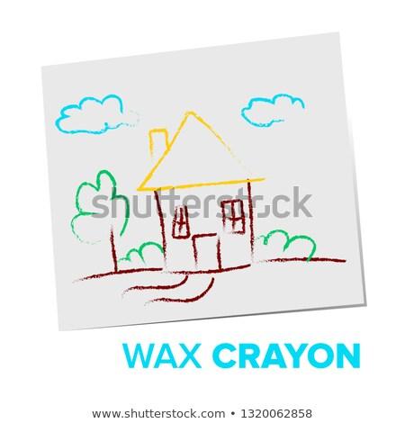 Cera crayon criança vetor meu casa Foto stock © pikepicture