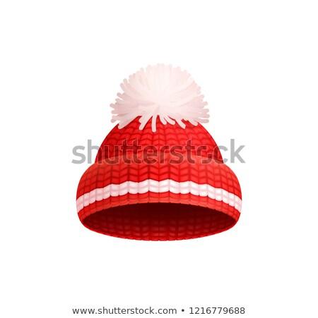 Photo stock: Tricoté · rouge · chapeau · blanche · vecteur · icône