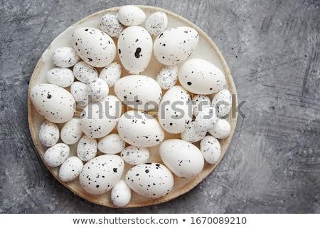 Bianco tradizionale punteggiata easter eggs ceramica piatto Foto d'archivio © dash