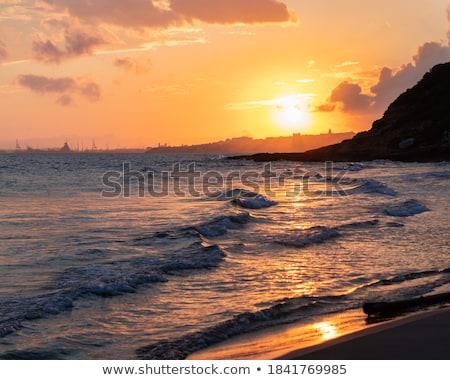 ポート 日没 地中海 海 スペイン ビーチ ストックフォト © lunamarina