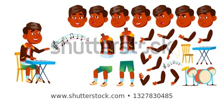 indian boy boy kindergarten kid vector animation creation set face emotions gestures kiddy drum stock photo © pikepicture