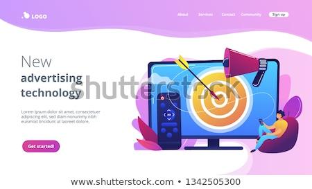 Tv hirdetés leszállás oldal üzletember távirányító Stock fotó © RAStudio