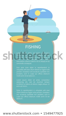 Man with Throw Line and Perch or Bass Fish Poster Stock photo © robuart