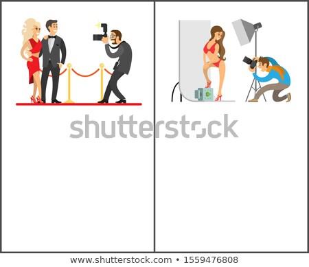 Modelo maiô fundo celebridades casal tapete vermelho Foto stock © robuart