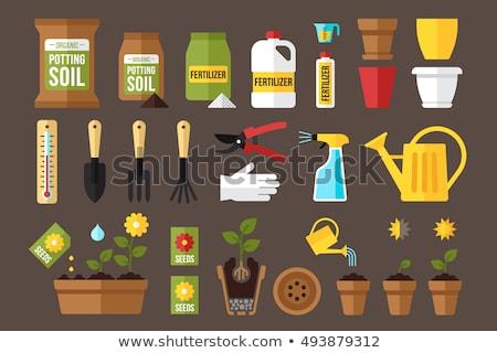 Műtrágya vektor ikon izolált ajándék zöld Stock fotó © nosik