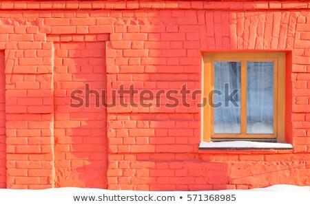 Glass block window red wall Stock photo © bobkeenan