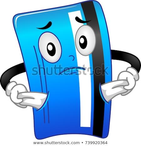 Debit card mascotte geen geld illustratie tonen niets Stockfoto © lenm