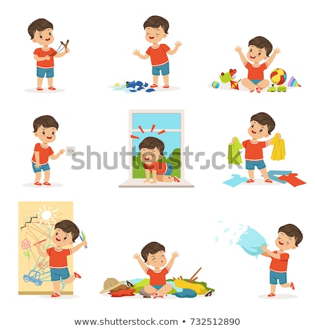 happy little boy character cartoon illustration Stock photo © izakowski