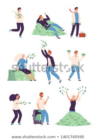 Gelukkig man vrouw miljonair vector Stockfoto © pikepicture