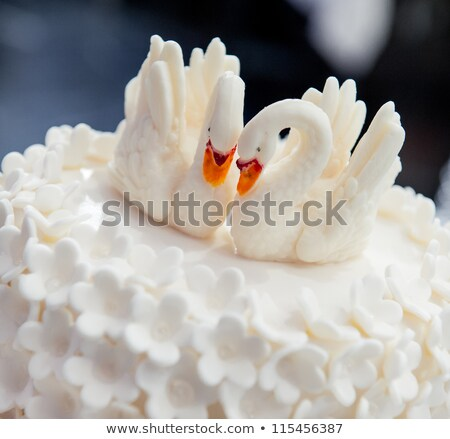 Wedding cake decorated with swans Stock photo © amok