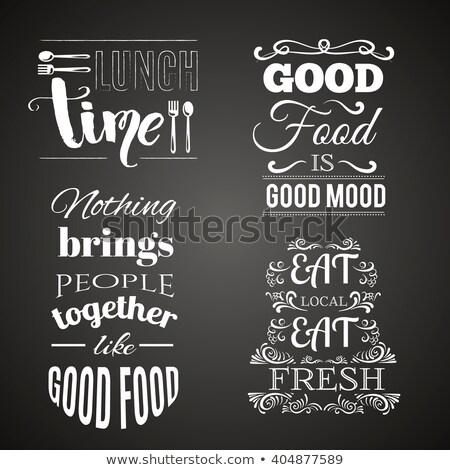 Comida vegetariana coleção citações fresco saudável Foto stock © Margolana