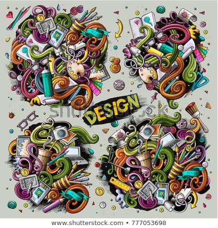 Colorful vector hand drawn doodles cartoon set of Designer combinations Stock photo © balabolka