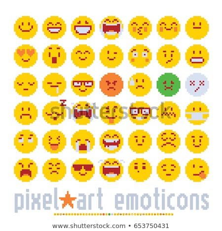 emoticon face pixel art 8 bit video game icon stock photo © krisdog