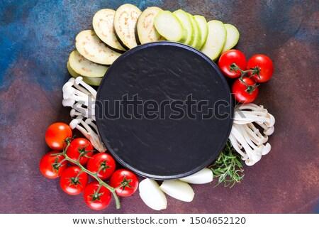 Various organic vegetables ingredients around empty plate  Stock photo © Illia