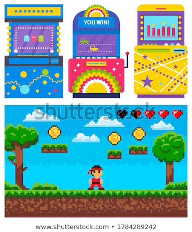 Pixel Game and Colorful Gambling Machine Vector Stock photo © robuart