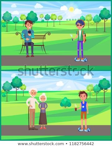Jonge teen grootouders park ingesteld vector Stockfoto © robuart