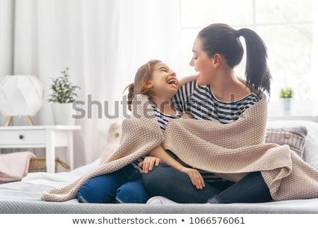 Stok fotoğraf: Kız · anne · tadını · çıkarmak · güneşli · sabah · güzel