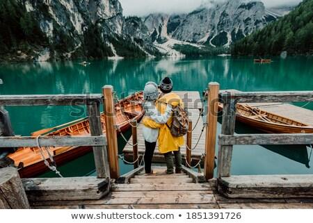 Természetjáró élvezi lenyűgöző kilátás Alpok kettő Stock fotó © lichtmeister