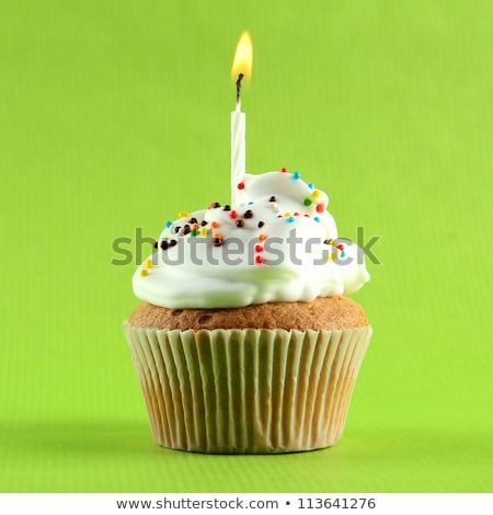 close up of cupcakes with green buttercream Stock photo © dolgachov