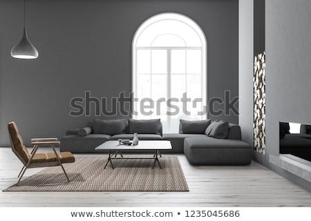 mavi · duvar · oturma · odası · izlemek · iç · mimari · koltuk - stok fotoğraf © dashapetrenko