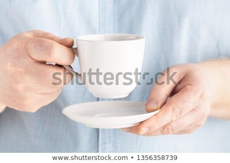 Forró eszpresszó kávé fa asztal füst asztal Stock fotó © magraphics