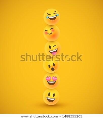 leuk · Geel · 3D · emoticon · gezicht · iconen - stockfoto © cienpies