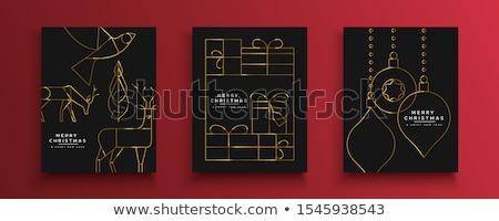 Natal ano novo cartão ouro art deco pomba Foto stock © cienpies