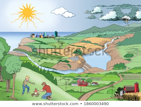 Diagram showing hydroelectric energy Stock photo © bluering