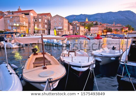 Town of Korcula coastline and harbor colorful dusk view, Stock photo © xbrchx