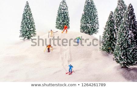 Miniatűr síelő közelkép jég tájkép kék Stock fotó © nito