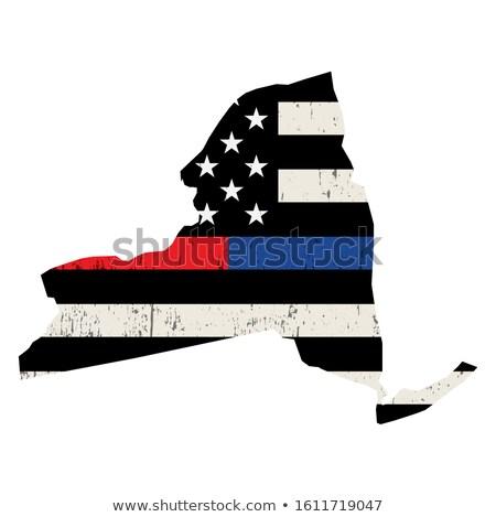 Nowy Jork policji strażak wsparcia banderą amerykańską flagę Zdjęcia stock © enterlinedesign