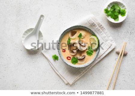 Tradycyjny tajska zupa kurczaka grzyby mleko kokosowe Zdjęcia stock © karandaev