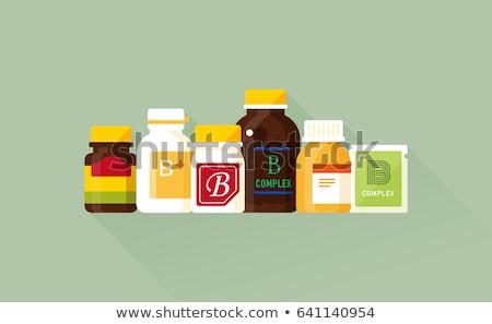 Gyógyszer táska kiegészítők ikon vektor vékony Stock fotó © pikepicture