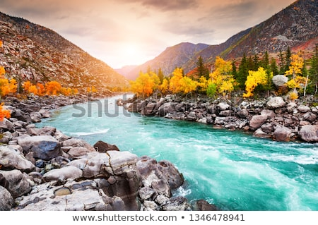Nehir sonbahar dağlar sibirya Rusya gökyüzü Stok fotoğraf © olira