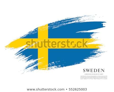 Grunge brush stroke with Sweden national flag on white Stock photo © evgeny89