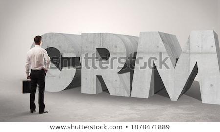 Achteraanzicht zakenman permanente afkorting man aandacht Stockfoto © ra2studio