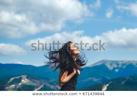 Fille streaming cheveux portrait noir femme Photo stock © pressmaster