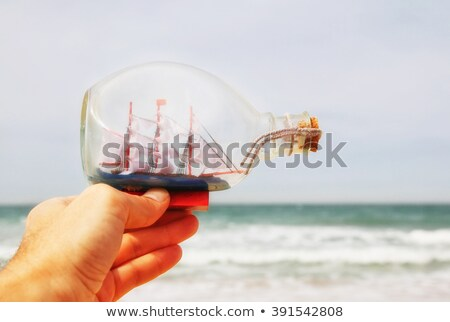 navio · garrafa · praia · fundo · deserto · oceano - foto stock © carenas1