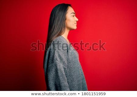 Vörös haj nő kaukázusi barna szemek fekete divat Stock fotó © aladin66