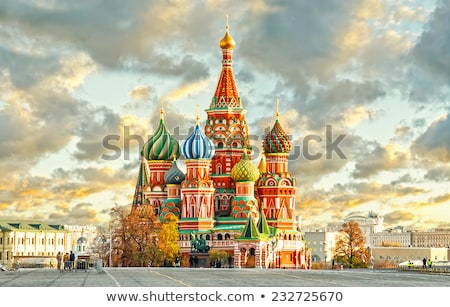 view of kremlin and st basils cathedral in winter stock photo © paha_l