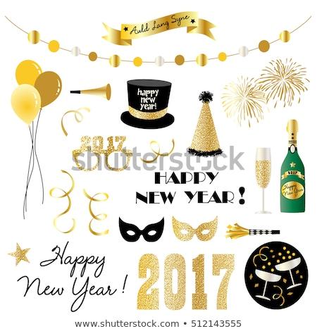 champagne · glas · goud · partij · hoeden · disco · ball - stockfoto © Sandralise