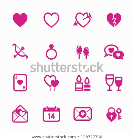 cupids set pink icons on black background stock photo © ecelop