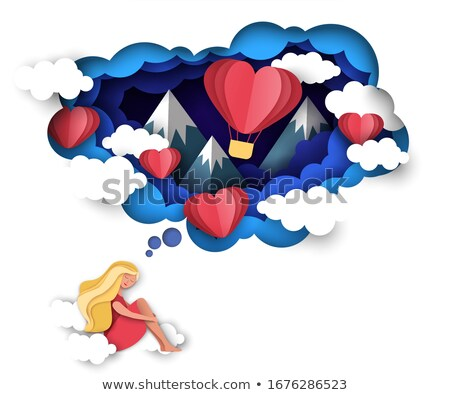 Heart cut out of white paper - vector Stock photo © orson